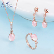 LAMOON 6x8mm 100% Natural Gemstone Oval Egg Rose Quartz 925 Sterling Silver Jewelry 18K Rose Gold Plated Jewelry Set V021-1