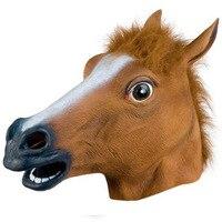 Новая голова лошади маска Косплэй Хеллоуин костюм меховой Мане латекс