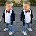 Baby Boy's Clothing Set Gentleman Autumn Children's Clothing Set Bowtie Baby Suits Wholesale Coat + Short T-Shirt + Long Jeans