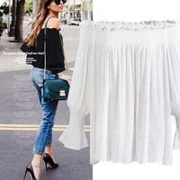 American Style L 4XL Plus Size Off Shoulder Chiffon Shirt Woman S Large Long Sleeved Short