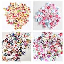 Печатная деревянная кнопка Смешанные цветастые 15 мм 2 отверстия Цветочные Природные Швейные детские малыша Кнопки для скрапбукинга Одежда Аксессуары