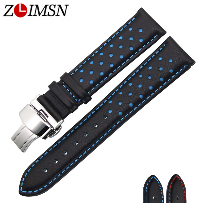 ZLIMSN Men's Watch Band Strap Genuine Leather Replacement Black Blue 20 22mm Watchbands 316L Stainless Steel Butterfly Buckle zlimsn thick genuine leather watch band 20 22 24 26mm strap belt replacement stainless steel skull buckle relojes hombre