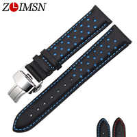 ZLIMSN Men's Watch Band Strap Genuine Leather Replacement Black Blue 20 22mm Watchbands 316L Stainless Steel Butterfly Buckle