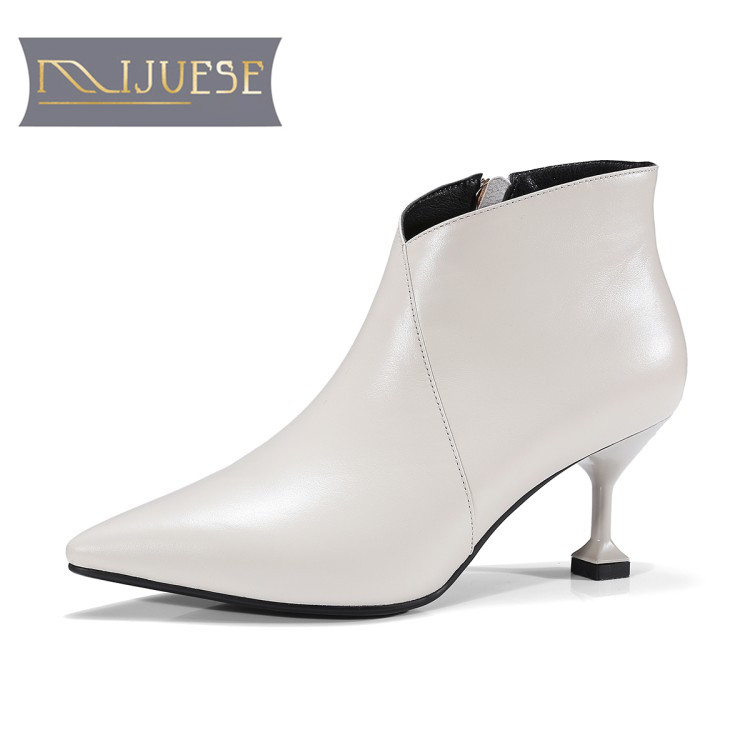 MLJUESE 2018 women boots cow leather beige color slip on high heels autumn spring ankle boots female boots martin boots bisi goro high heel boots women black beige pink platform female boots leather spring autumn shores boots heels ankle boots 2017