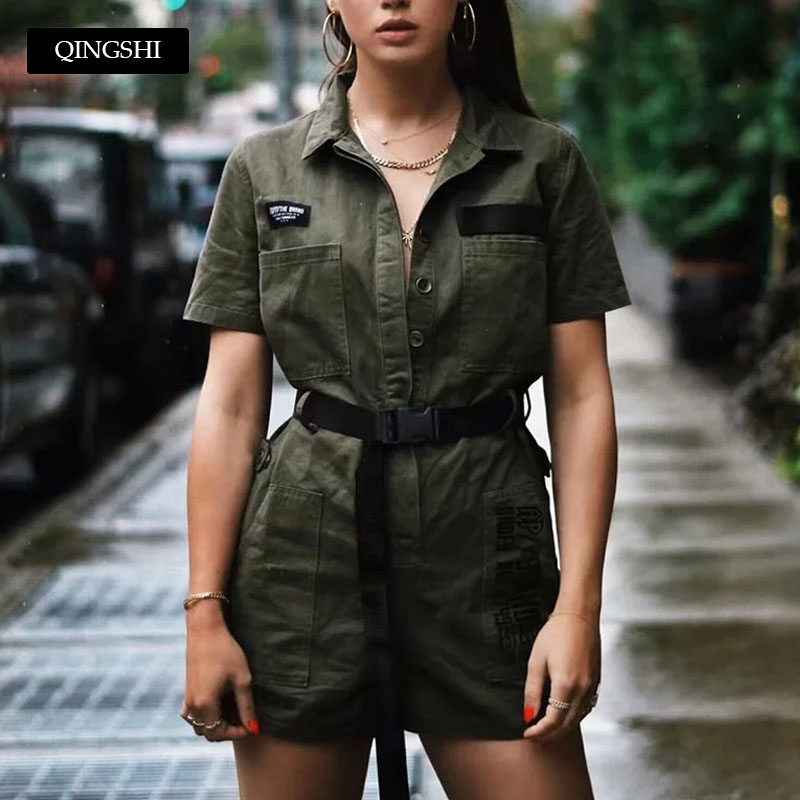 Short Sleeve Military Rompers Womens   Jumpsuit   Summer Belt Playsuit Army Overalls for Women Spring Vintage Rompers Black   Jumpsuit