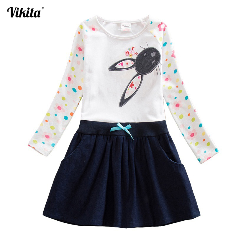 VIKITA Baby Girl Dress long sleeve kids dresses for girls Clothes children clothing Kids Clothes winter Party Girls Dress