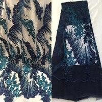(5 ярдов/шт) высший сорт Французский кружевной ткани темно синий тюль кружевной ткани с великолепной вышивкой и бусины камни для платье FGY811