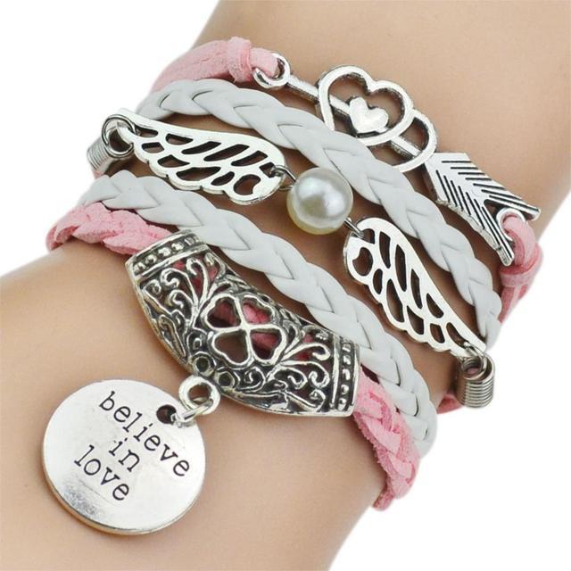 7 Colors 2017 New Fashion Leather Bracelets & Bangles Silver Owl Tree Love Bracelets for Women Men Hot Sale Fashion Jewelry