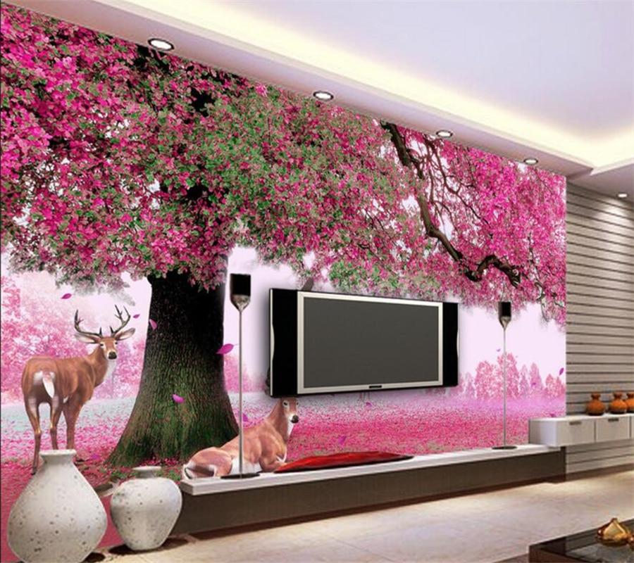Beibehang Custom Wallpaper Dream Trees Sika Deer Cherry Blossom Rainbow TV Background Wall Living Room Bedroom 3d Wallpaper