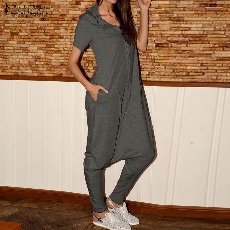 2020 ZANZEA Fashion Hooded Overalls Women's Cargo Jumpsuits Vintage Short Sleeve Playsuits Casual Solid Rompers Plus Size Pants