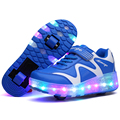Boys Girls Led Skate Shoes Size 27-43 Single or Double Wheels Light Illuminated Sneakers Children Jazzy Roller Shoes Kids Adults