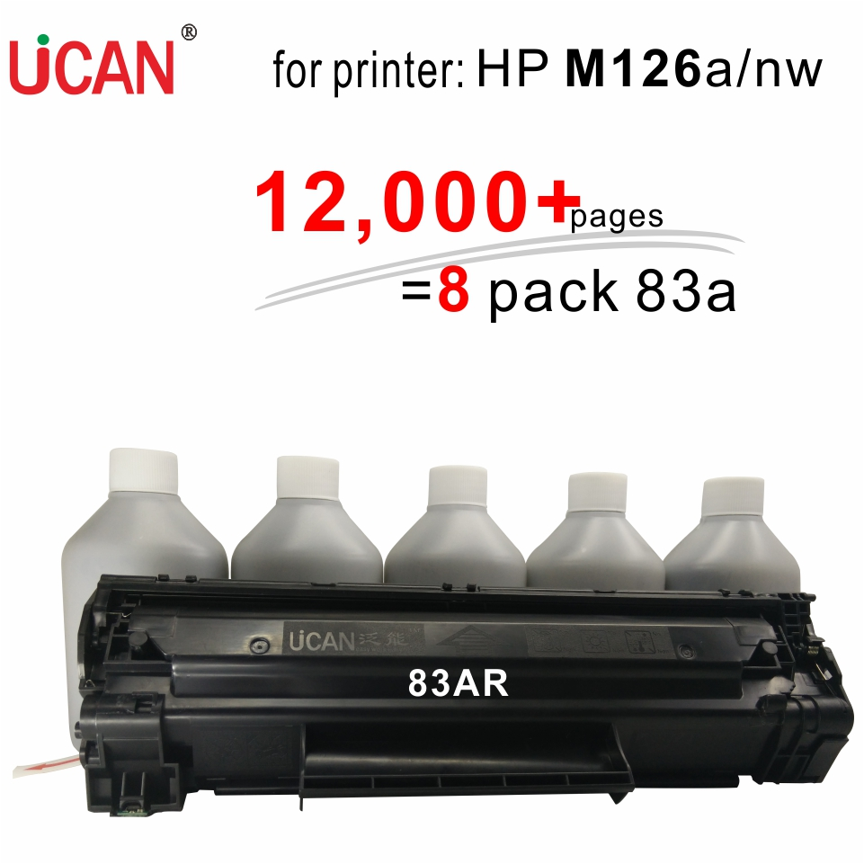 for HP LaserJet Pro MFP M126a M126nw Printer UCAN 83AR(kit) 12,000 pages equal to 8-Pack ordinary CF283a (83a) toner cartridges 4x non oem toner refill kit chips compatible for hp 130a 130 cf350a cf353a color laserjet pro mfp m176 m176n m177 m177fw
