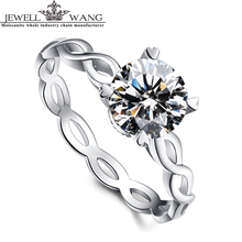 Jewellwang Moissanites 1.0ct Certified Engagement Rings For Women 18k Real White Gold Girls Gift Party Prong Setting Heart Ring
