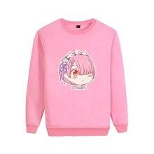 RE: ZERO Ram Emilia Harajuku Style Cartoon Kawaii Pattern Cool Design O-NECK Cotton Sweatshirts A193121
