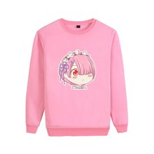 RE: ZERO Ram Emilia Harajuku Style Cartoon Kawaii Pattern Cool Design O-NECK Cotton Sweatshirts A193121(China)