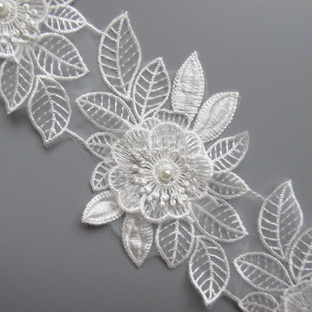 1e534d7bc US $3.69 |2 yards Floral Leaf Pearl Beaded Multiple Layers Embroidered Lace  Trim Ribbon Applique Fabric Craft Vintage Wedding Dress-in Lace from Home  ...