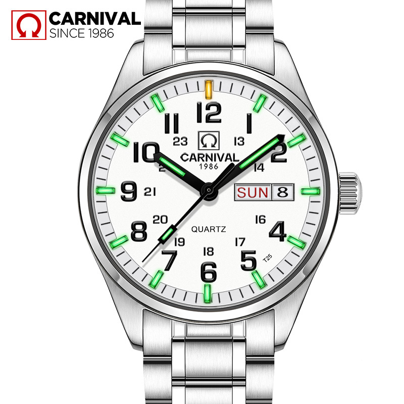 Quartz movement Green Tritium Luminous Sport Watch Waterproof 30m CARNIVAL Calendar Watches Mens relogio masculino 2017