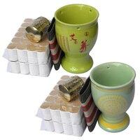 New multifunction china ceramic massage guasha SPA moxa green or yellow goblet hight quality moxibustion roller