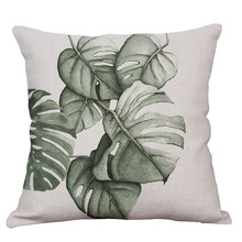 45x45 cm Tropical Green Banana Leaves Plant Print Car Decorative Throw Pillowcase Pillow Cases Cushion Covers Sofa Home Decor цены