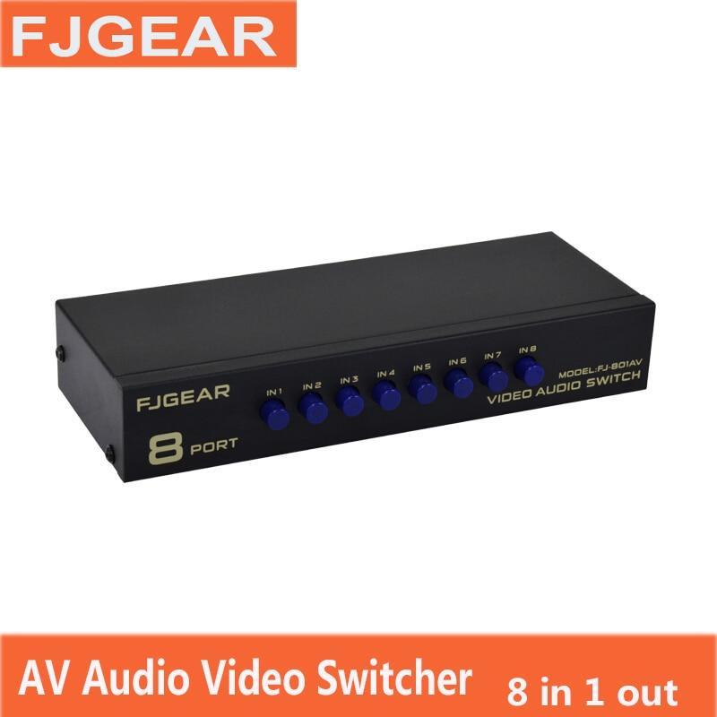 AV distributor 1 to 8 Way Ports RCA Audio Video AV Splitter Switch Switcher TV DVD Monitor 8 in 1 out FJ-801AV FJGEAR