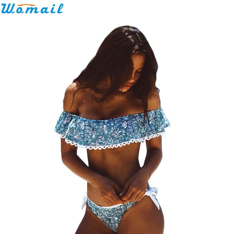 Womail Suit Bikini Womens Bikini Sets Ruffle Top Off Shoulder Sexy Swimwear Bathing 2017 drop shopping 1PC