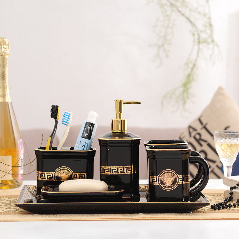 Europe Luxury Gold & Black Bathroom Accessories Set Ceramic For Home Toilet Decoration Room Storage Organizer Toothbrush Holder