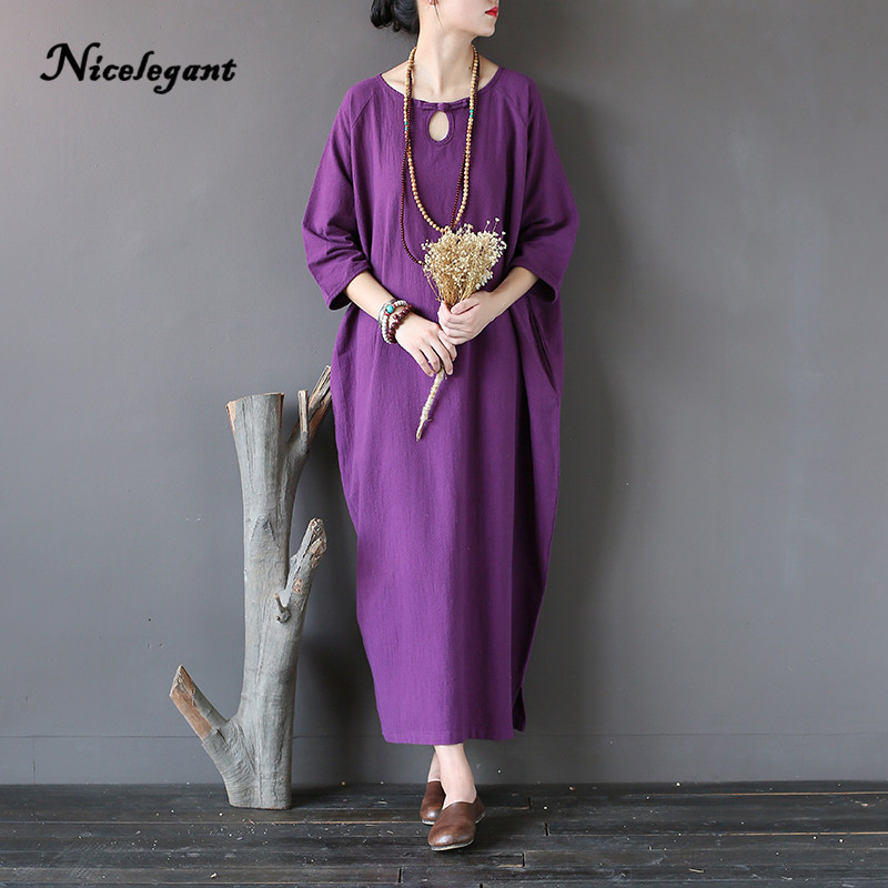 2019 Spring New Vintage Solid Dress Women Linen Three Quarter Robe Vintage Button Hole Female Casual O Neck Dresses