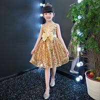 Sequin party dress ball gowns tutu clothes summer princess little girl dress with bow girls sleeveless gold silver birthday YY70
