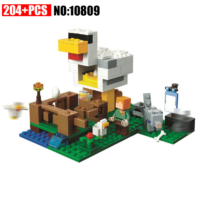 NEW 204pcs 10809 Bricks My worlds the Chicken Coop Building Blocks kit Educational Toys Boys Gift for Children Compatible 21140 dhl lepin 18032 2932 pcs the mountain cave my worlds model building kit blocks bricks children toys clone21137 in stock