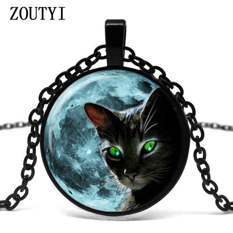 2018/ hot sale, blue moon black cat pattern glass pendant necklace, summer style lace green cat eye pendant necklace jewelry