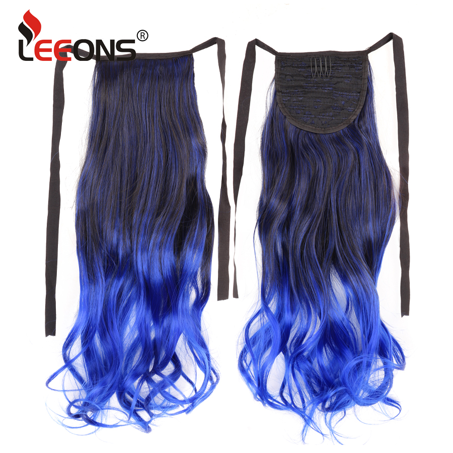 Leeons 18 Long Wavy Fake Hair Pieces Drawstring Ponytail hairpieces for Women Synthetic High Temperature Fiber Hair Extensions