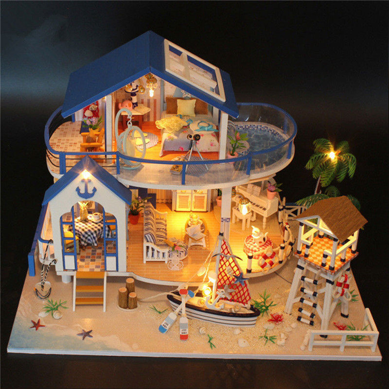 DIY LED Dollhouse Sea Miniature Villa With Furniture Wooden House Room Model Kits Gifts Toy For Kids