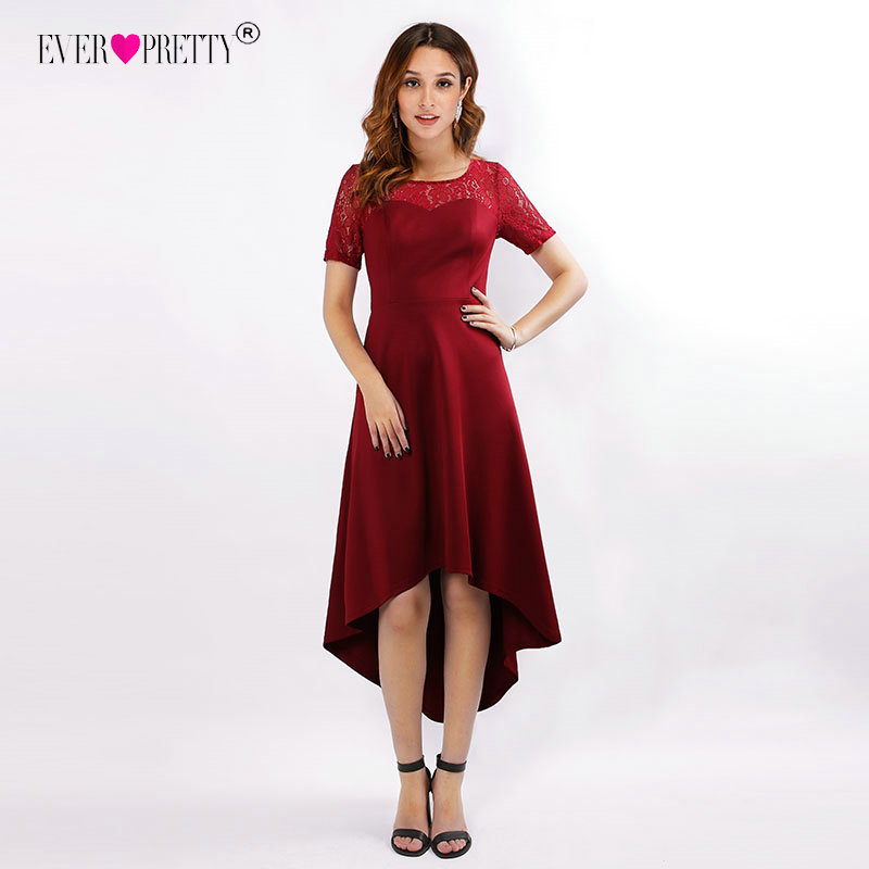 Ever Pretty Asymmetrical   Bridesmaid     Dresses   Burgundy High/Low Wedding Party   Dress   EZ07618BD Illusion Lace vestido de festa longo