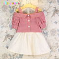 2016 Summer Girls Clothing Kids Clothes Fashion Children Sets Plaid T-shirt+Skirts 2pcs Baby Suits 0-7Year Toddler Outfit BC1362