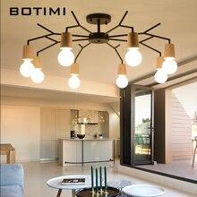 BOTIMI American Wooden LED Ceiling Lights For Living Room Lustres White Black Metal Lamp E27 Kitchen Lighting Fixture
