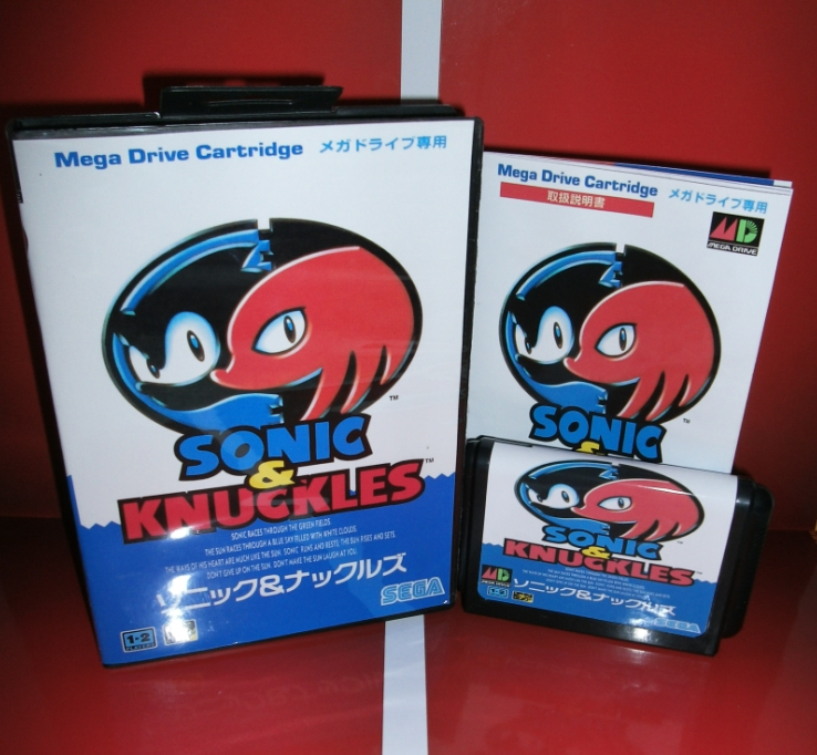 Sega games card - Sonic and Knuckles 4  with box and manual for Sega MegaDrive Video Game Console 16 bit MD card