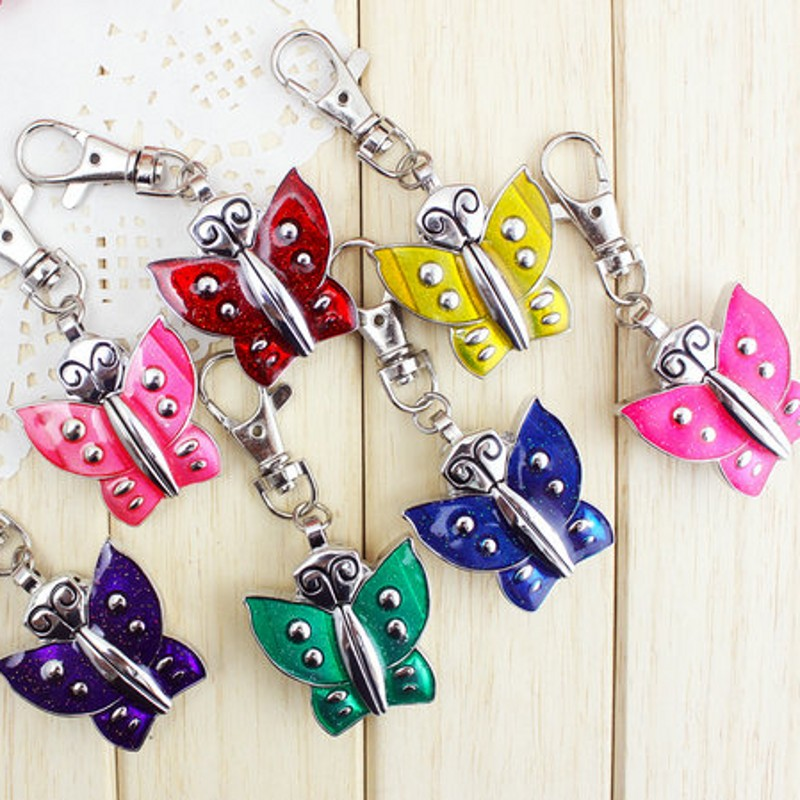 New Cute Butterfly Charming Key Chain Ring Fashion Bag Keychain Jewelry Pocket Watch Necklace Pocket Watch Relogio