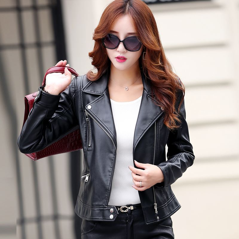 Women Leather Jackets Ladies Short Design Slim Elegant PU Faux ...