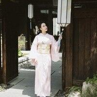 Classic Japanese National Kimono Women Yukata With Obi PINK Elegant Long Robe Evening Dress Vintage Stage Show Clothes S M