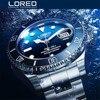 חדש LOREO Mens שעונים למעלה יוקרה מותגים שחף מכאני לצפות Mens ספורט צלילה 200 M מלא פלדת שעון Relogio Masculino