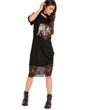Casual Loose Clothing for Women Black Dresses Summer Leisure Printed Lace Knitted Patchwork Long Tshirt Style Dresses
