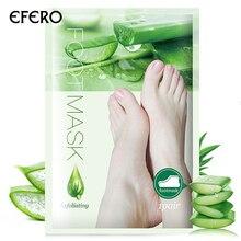 efero 6pairs=12pcs Exfoliating Foot Mask Aloe Vera Essence Peeling Feet Socks for Pedicure Heels Remove the Skin Care