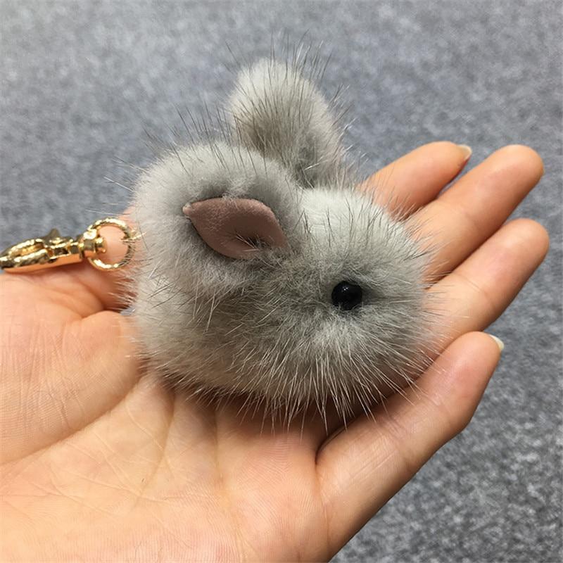 Mini rabbit keychain girl rabbit real mink fur keychain keychain Trinket  chains bunny bunnies hare skin phone pendant e3035ca1fcfc