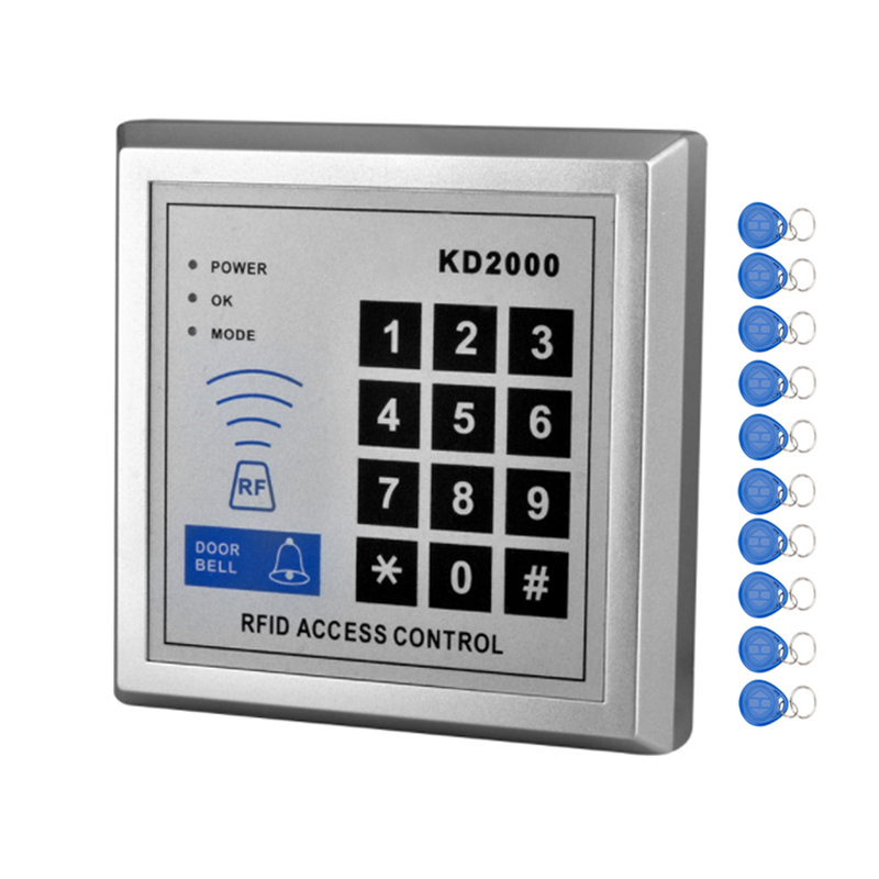 RFID 125 KHz Contrôle D'accès Clavier Lecteur de Carte À Puce Système De Verrouillage De Porte Avec TK4100 Porte-clés Soutien 3000 utilisateurs Pour La Maison/appartement