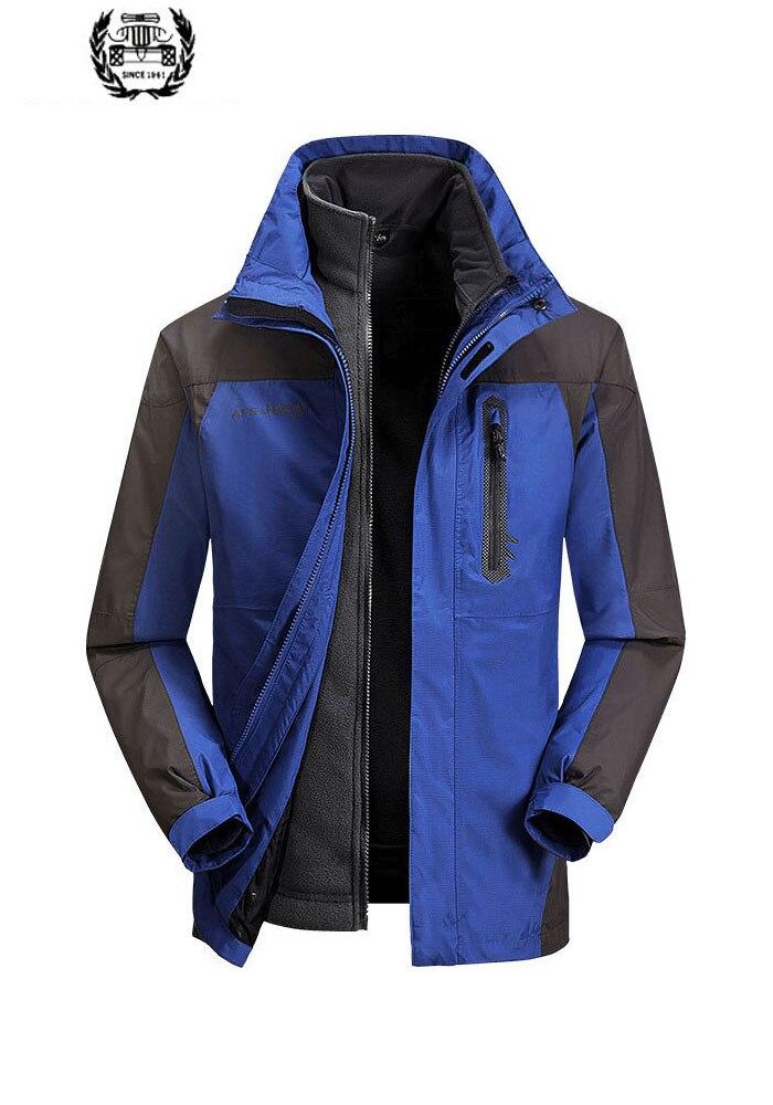 Новинка 2019, зимние мужские повседневные куртки для кемпинга, пэтчворк, с капюшоном, 2 предмета, флисовые теплые ветрозащитные куртки, пальто,...