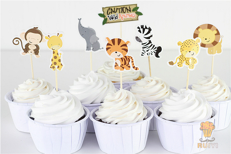 24pcs Jungle Safari Cute Cupcake Picks Animal Cake Toppers Cartoon Cupcake Inserts Card Birthday Baby Shower Kids Party Favors