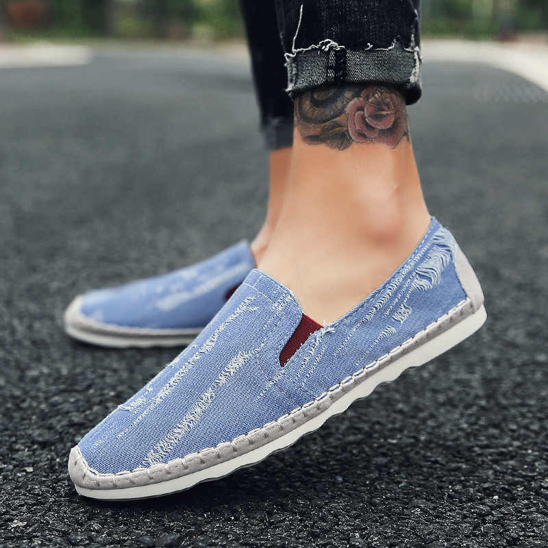 New Men Canvas Shoes Loafers Men Casual Shoes Brand Comfortable Spring Autumn Fashion Breathable Male Shoes M579