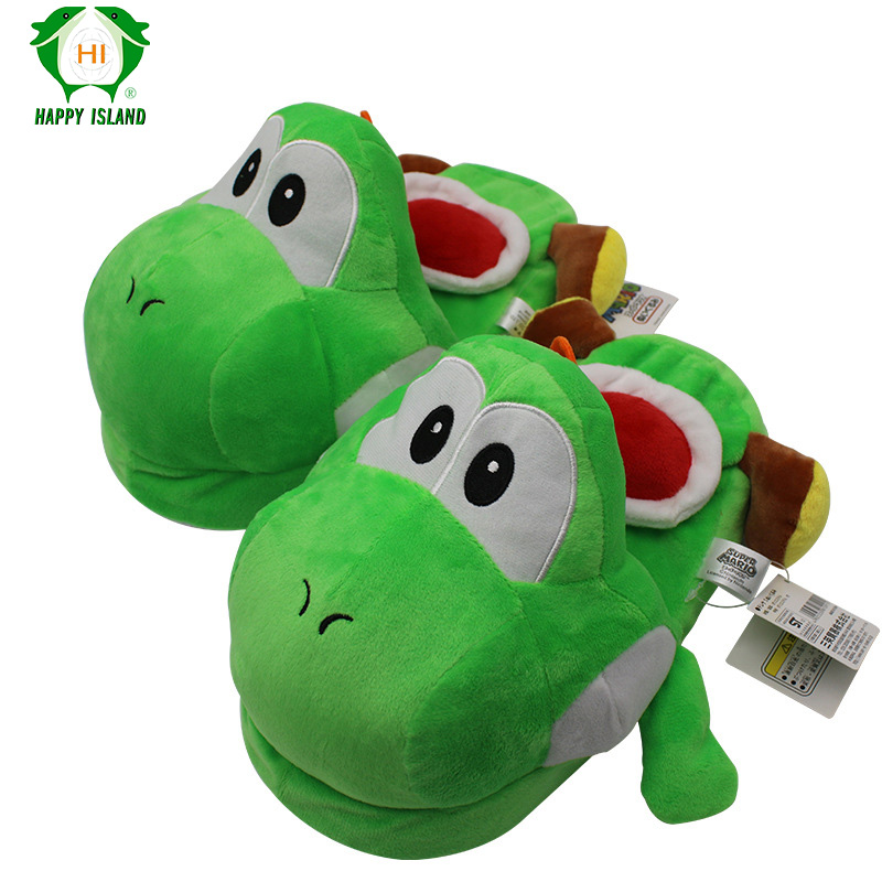 Cartoon Green Yoshi Dinosaur Indoor Slippers Stuffed Plush Super Mario Shoes For Older Kids Adult Winter Soft Warm Home Slippers