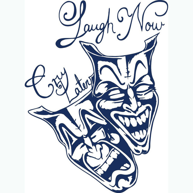 Laugh Now Cry Later Clown Mask Decals Happy And Sad Face Wall