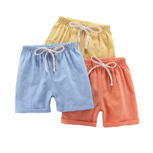 New ChildrenS Cotton Five-Point Hot Pants Boys Girls Wild Solid Color Shorts Spring And Summer Linen Comfort